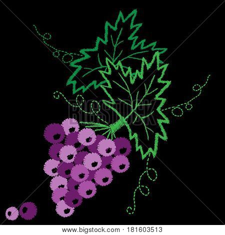 Vine with leaves and grapes pattern embroidery stitches imitation. Vector grape embroidery effect for collar shirts neck line blouses clothes and textile.