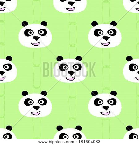 Panda face seamless pattern. Stock vector illustration of chherful animal portrait based decoration.