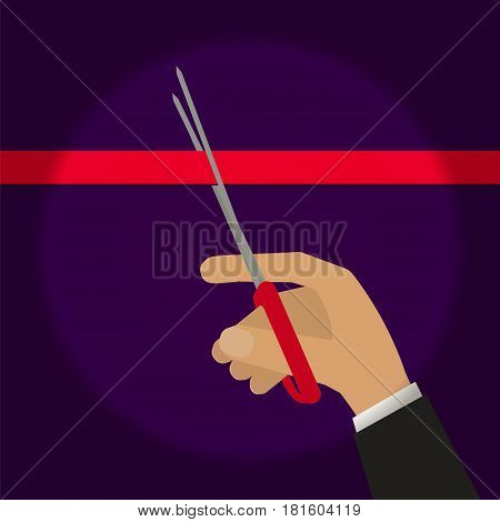 Hand cutting red ribbon with scissors in spot light. Stock vector illustration for ceremony event opening presentation in flat style.