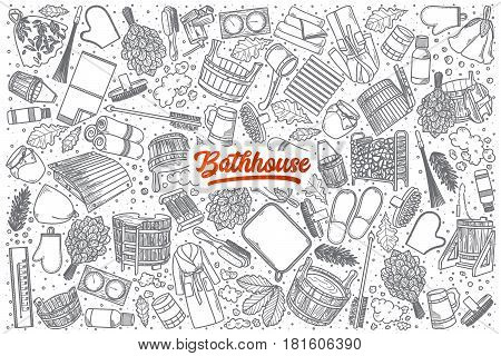 Hand drawn Bathhouse doodle set background with red lettering in vector