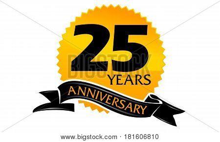 25 Years Ribbon Anniversary Congratulation Celebration Ceremony