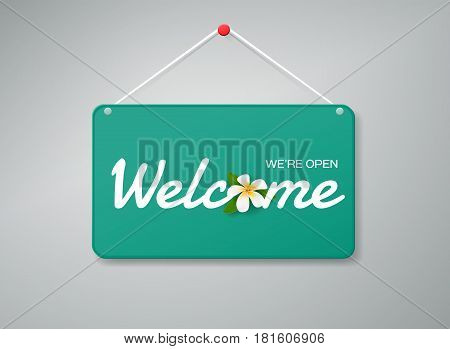 Vector welcome door sign. Label with text and flower. Vector illustrationwelcome signplate