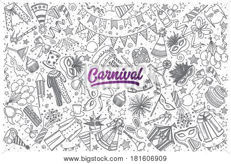 Hand drawn Carnival doodle set background with purple lettering in vector