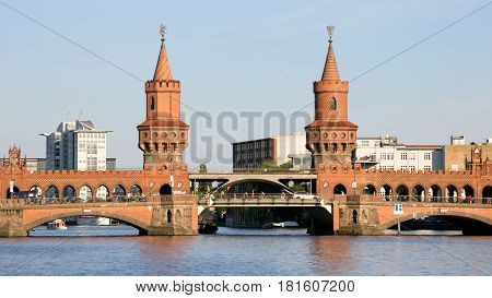Oberbaum bridge over the river Spree in Berlin Germany
