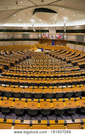 BRUSSELS BELGIUM - JULY 30 2014: The EU European Parliament Room in Brussels.