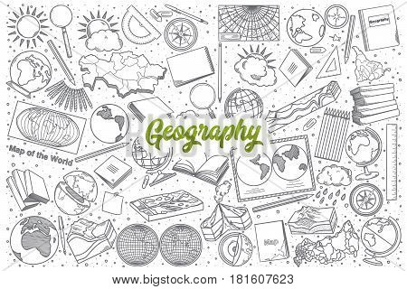 Hand drawn Geography doodle set background with green lettering in vector