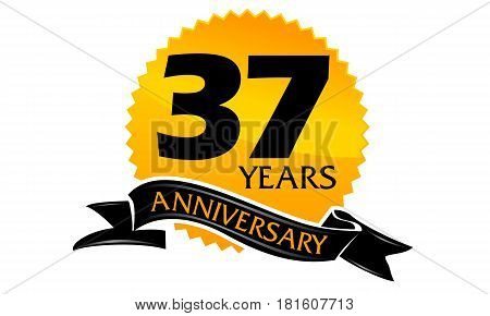 37 Years Ribbon Anniversary Congratulation Celebration Ceremony