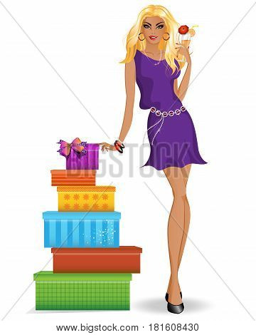 Spectacular beautiful girl in a dress with gifts