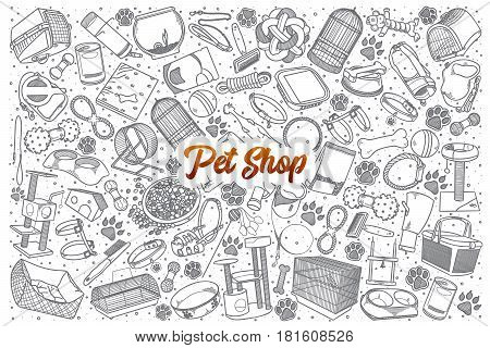 Hand drawn Pet shop doodle set background with orange lettering in vector