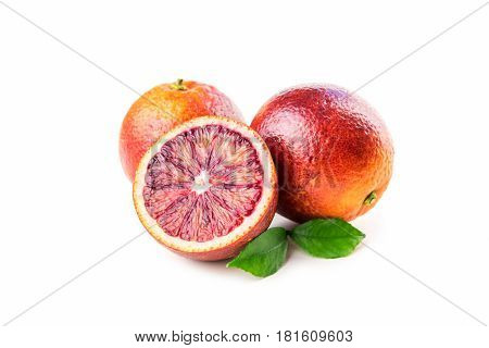 Red sicilian oranges isolated on white background