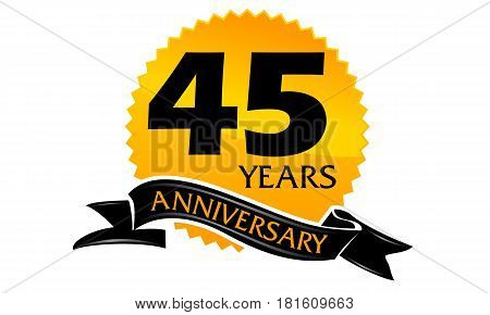 45 Years Ribbon Anniversary Congratulation Celebration Ceremony