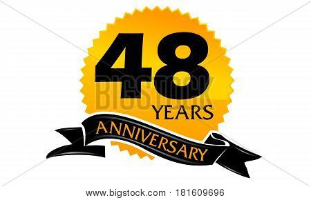 48 Years Ribbon Anniversary Congratulation Celebration Ceremony