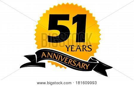 51 Years Ribbon Anniversary Congratulation Celebration Ceremony
