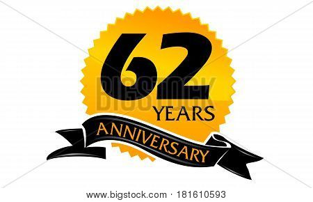62 Years Ribbon Anniversary Congratulation Ceremony Modern