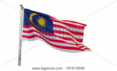 Malaysian National Flag On A Pole Against Bright Blue Sky. Malaysian's Flag With Clipping Path.