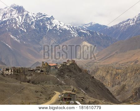 Jharkot - beautiful nepalese village on the top of the hill in Himalayas near Upper Mustang Region Annapurna Conservation Area Nepal