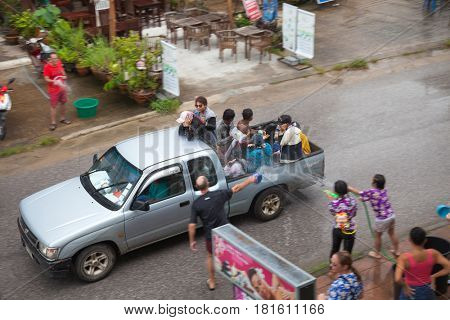 KHAO LAK, THAILAND - APRIL 13, 2017: Songkran in Khao Lak, Thailand on 13 April 2017.
