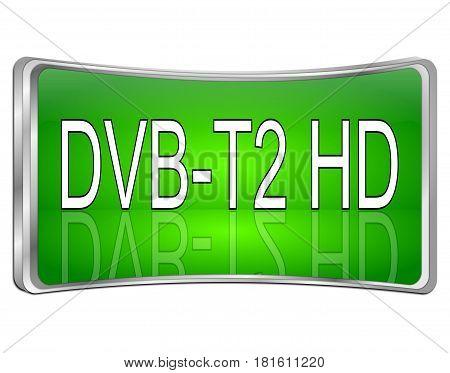 green DVB-T2 HD ( Digital Video Broadcasting ) - 3D illustration