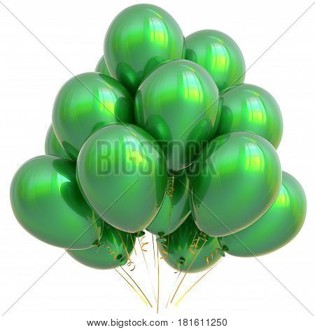 Green party balloons happy birthday decoration glossy.  3D illustration isolated