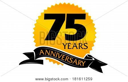 75 Years Ribbon Anniversary Congratulation Ceremony Modern
