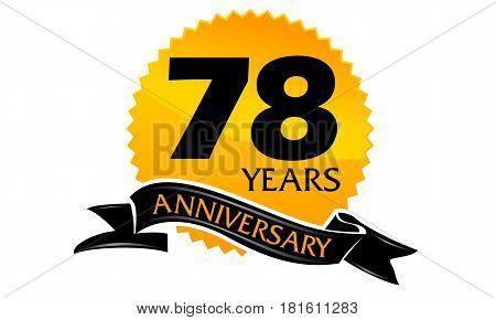 78 Years Ribbon Anniversary Congratulation Ceremony Modern