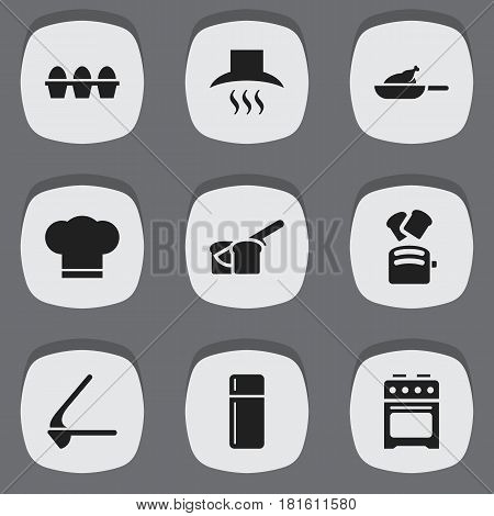 Set Of 9 Editable Cooking Icons. Includes Symbols Such As Slice Bread, Stove, Kitchen Hood And More. Can Be Used For Web, Mobile, UI And Infographic Design.