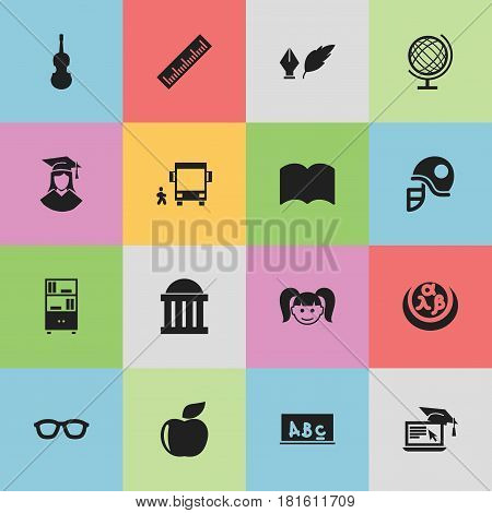 Set Of 16 Editable Graduation Icons. Includes Symbols Such As School Board, Daughter, Fiddle And More. Can Be Used For Web, Mobile, UI And Infographic Design.