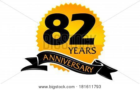 82 Years Ribbon Anniversary Congratulation Ceremony Modern