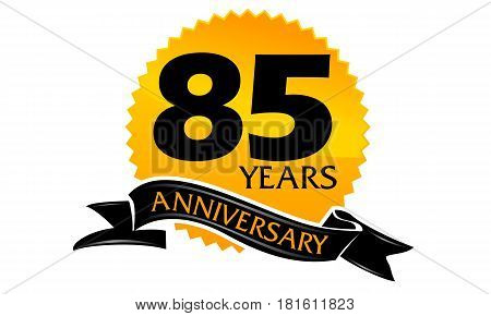 85 Years Ribbon Anniversary Congratulation Ceremony Modern