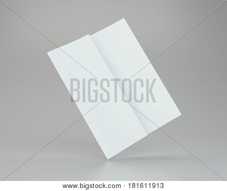 Blank white unfolded A4 paper crumpled. 3d rendering.