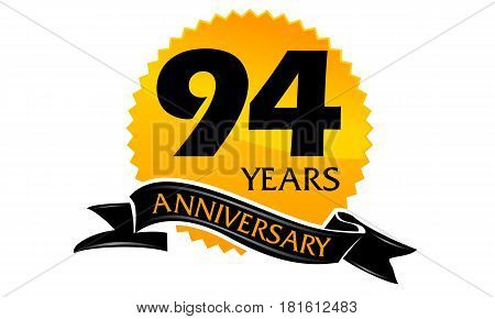 94 Years Ribbon Anniversary Congratulation Ceremony Modern