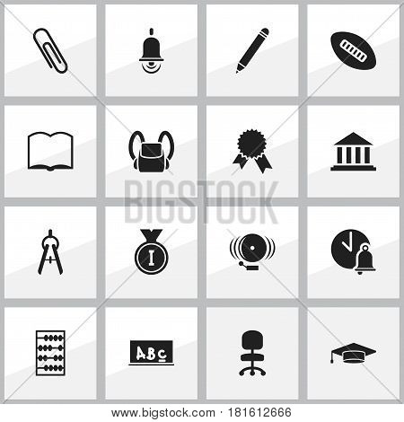Set Of 16 Editable Education Icons. Includes Symbols Such As School Bell, Graduate, Victory Medallion And More. Can Be Used For Web, Mobile, UI And Infographic Design.