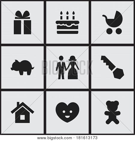 Set Of 9 Editable Kin Icons. Includes Symbols Such As Moneybox, Gift, Perambulator And More. Can Be Used For Web, Mobile, UI And Infographic Design.