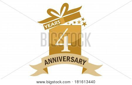 4 Years Gift Box Ribbon Anniversary Congratulation