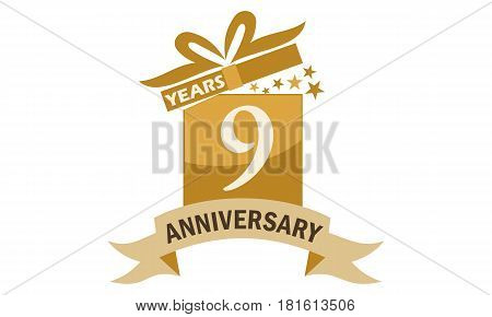 9 Years Gift Box Ribbon Anniversary Congratulation