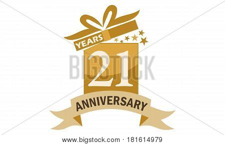 21 Years Gift Box Ribbon Anniversary Congratulation