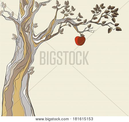 Stylized greeting card with apple on tree