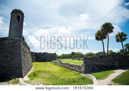 St. Augustine Fort and Landscape View in Florida