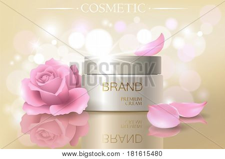 Rose Petal Flower Extract Cosmetic Ads Template, Realistic 3D Illustration Skincare Moisturizing Moc