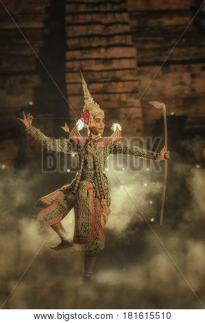 The pantomime (Khon)Thai traditional dance is preserving traditionsRamayana dance drama. poster