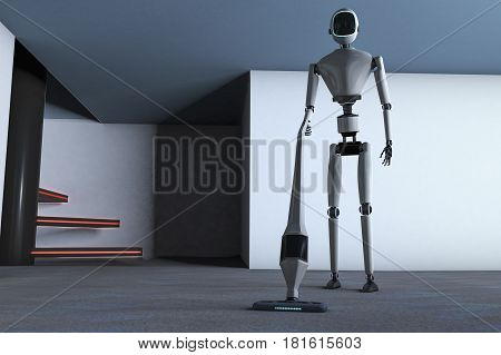 A household robot with a vacuum cleaner (3d rendering)