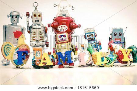 vintage tin toys say the word family