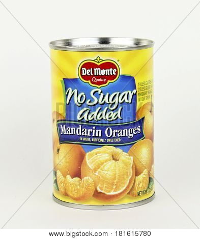 Spencer Wisconsin April 14 2017 Can of Del Monte Mandarin Oranges Del Monte Foods is an American food production company founded in 1866