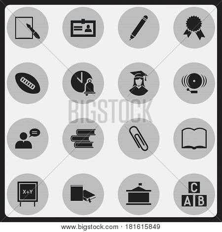 Set Of 16 Editable Graduation Icons. Includes Symbols Such As School Bell, Notepaper, Book And More. Can Be Used For Web, Mobile, UI And Infographic Design.