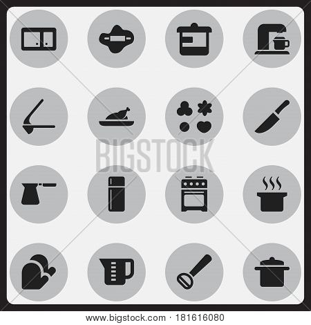 Set Of 16 Editable Food Icons. Includes Symbols Such As Utensil, Cookware, Mensural And More. Can Be Used For Web, Mobile, UI And Infographic Design.