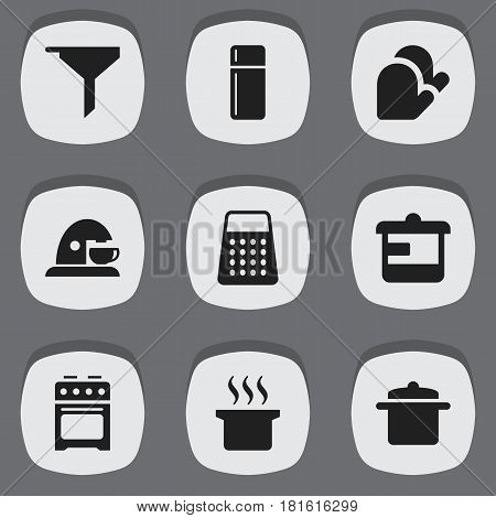 Set Of 9 Editable Cooking Icons. Includes Symbols Such As Utensil, Shredder, Cookware And More. Can Be Used For Web, Mobile, UI And Infographic Design.