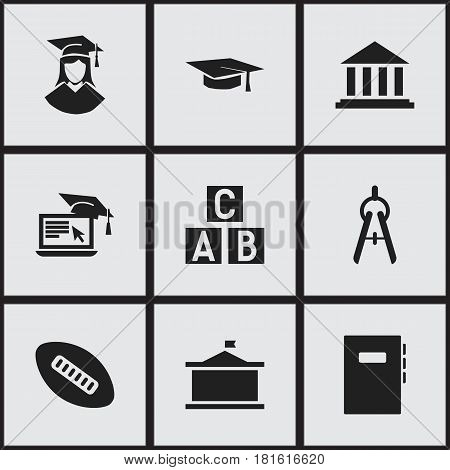 Set Of 9 Editable University Icons. Includes Symbols Such As Distance Learning, Alphabet Cube, Workbook And More. Can Be Used For Web, Mobile, UI And Infographic Design.