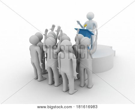 Leader speaking to audience. 3d leader concept . rendered illustration