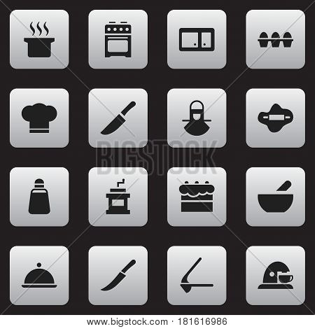 Set Of 16 Editable Cooking Icons. Includes Symbols Such As Salver, Soup, Soup Pot And More. Can Be Used For Web, Mobile, UI And Infographic Design.