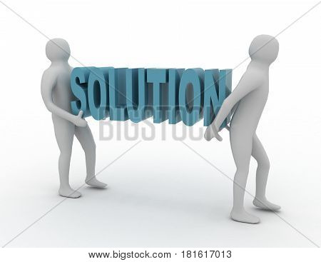 White 3d People Carry Red SOLUTION Word. Business Success Concept .  rendered illustration